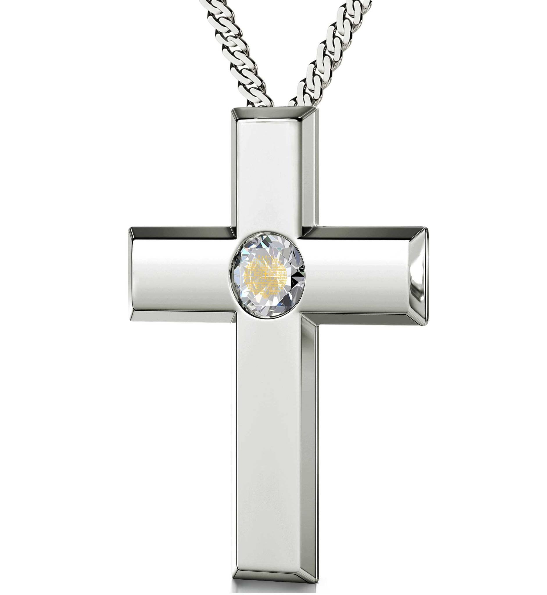 """Sterling Silver Cross Jewelry with Our Father Prayer, Women's Gifts for Christmas, Cute Necklaces for Her"""