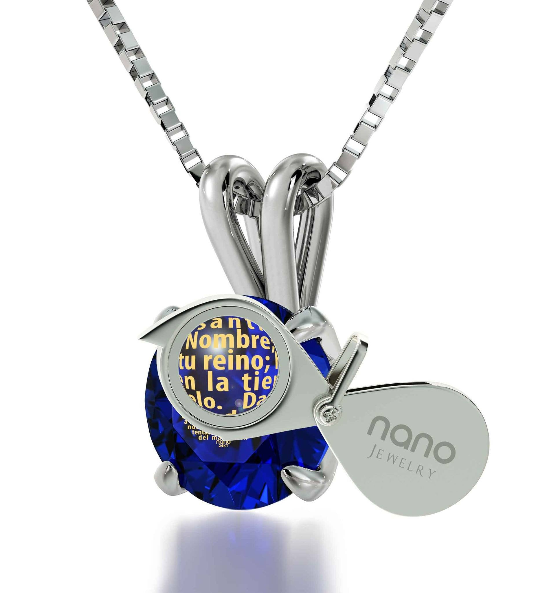 """Cute Padre Nuestro Crystal Pendant, Valentine's Day Gifts for Wife, Christian Jewelry for Women, by Nano"""