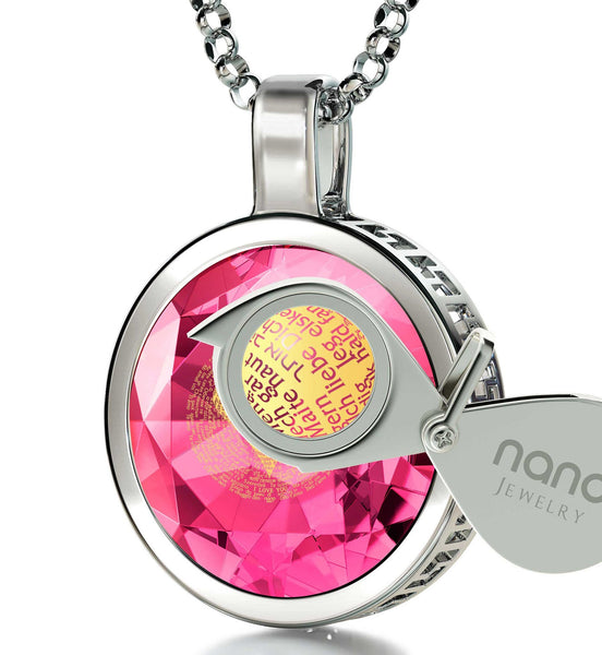 "Best Christmas Gifts for Girlfriend, ""I Love You"" in German, CZ Pink Stone, 25th Birthday Ideas for Her"