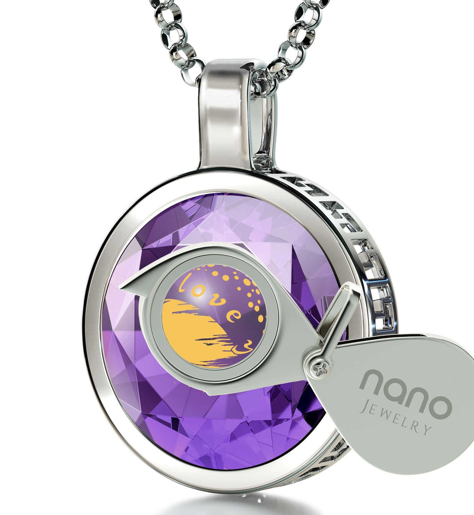 """Valentine's Gifts for Her,""I Love You to the Moon and Back"" Necklace, 24k Engraving on Purple CZ Stone"""