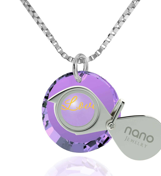 Best Christmas Presents For Her Cz Jewelry Purple Pendant Gold Chain For Women Nano Jewelry