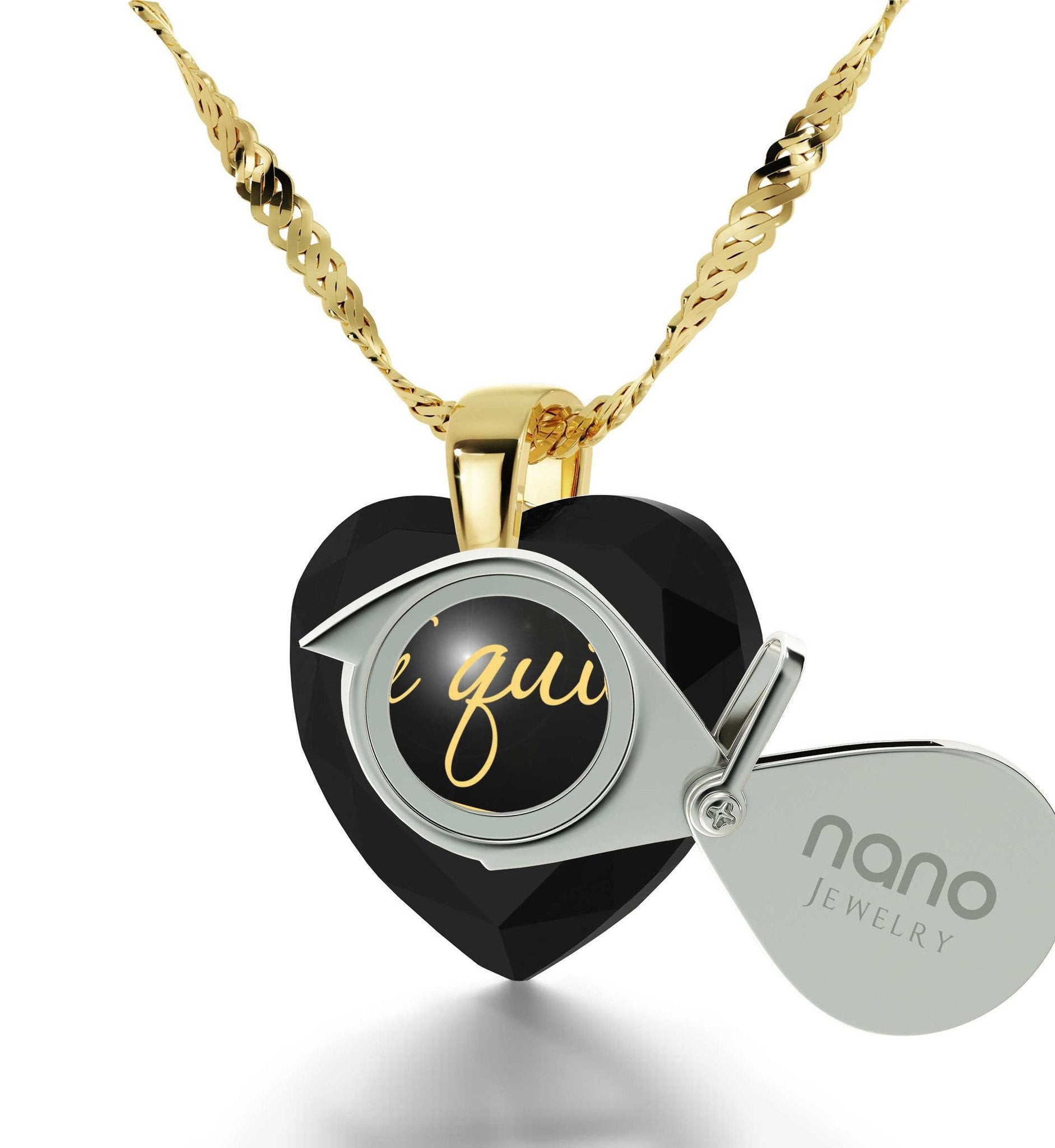 """Birthday Present for Girlfriend,""TeQuiero""""I Love You"" in Spanish, Heart Necklace by Nano Jewelry"""
