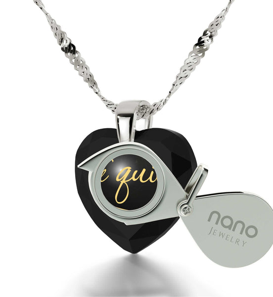 """""TeQuiero"", ""I Love You"" in Spanish, Heart Necklace, Birthday Gift Idea for Girlfriend"""