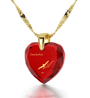 """Good Christmas Presents for Girlfriend, ""I Wanna Fly with You"", CZ Red Heart, Wife Birthday Gift Ideas, by Nano Jewelry """