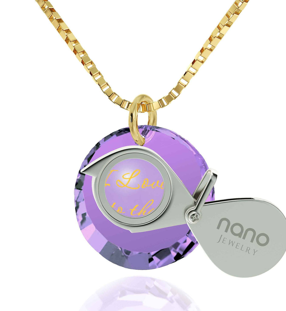 Necklaces for Your Girlfriend, Gold Filled, 24k Imprint, I Love You to The Moon and Back Jewelry, Nano