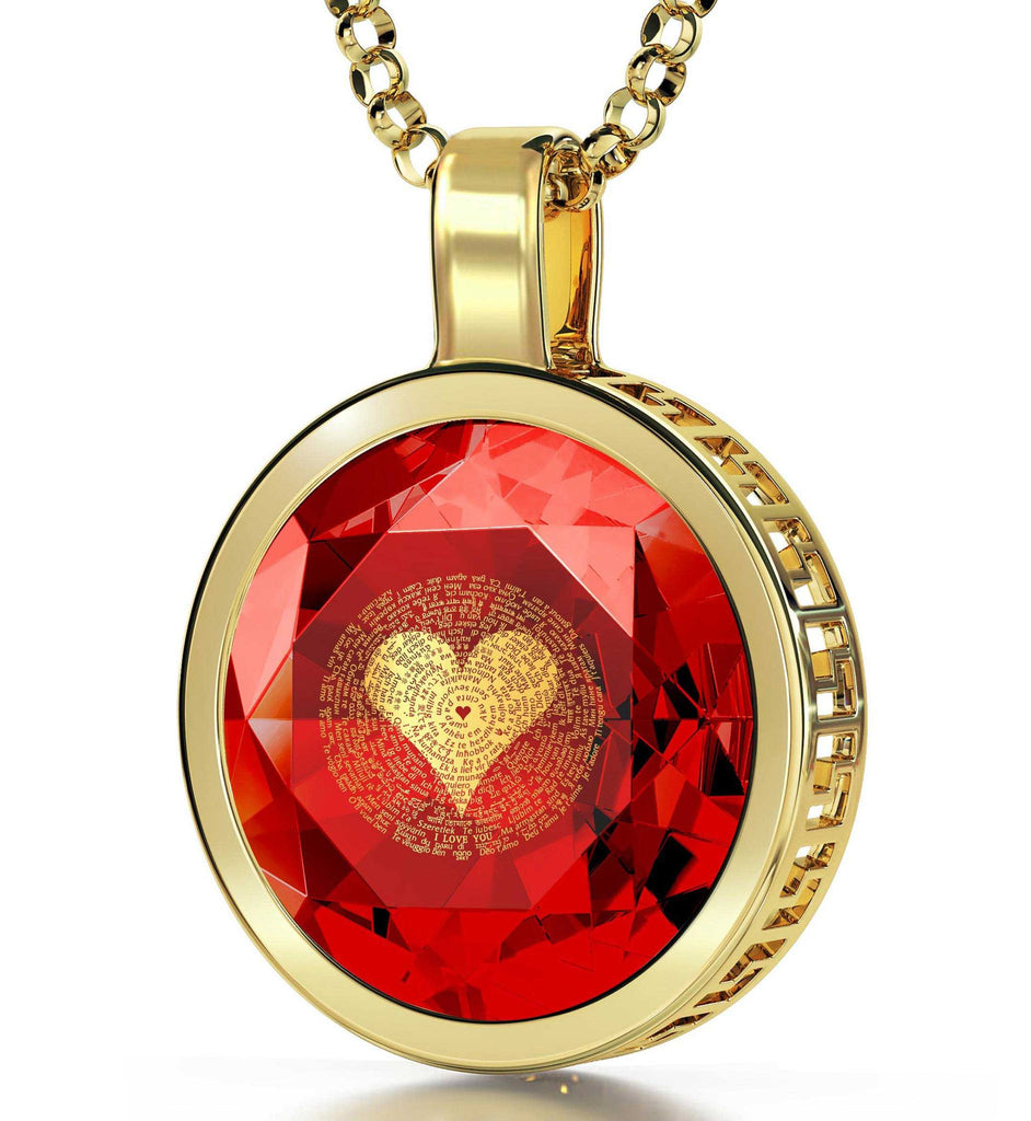 "Valentine's Day Jewelry: ""I Love You"" in All Languages - Round - Silver Gold Plated - Nano Jewelry"