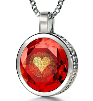 "Best Presents for Girlfriend, ""I Love You"" in 120 Languages, CZ Red Stone, Xmas Gifts for the Wife by Nano"