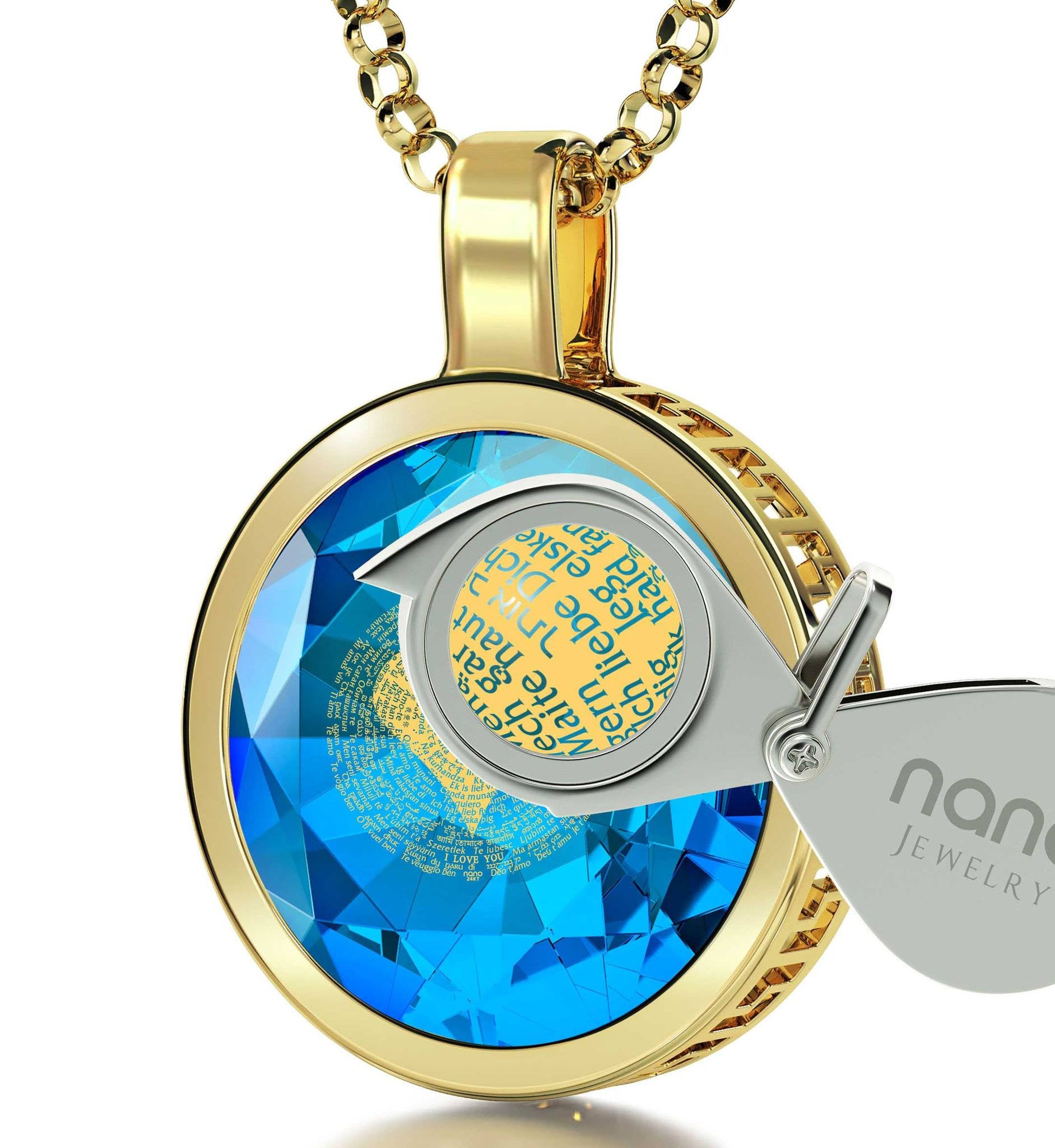"St Valentine Jewelry: ""I Love You"" in All Languages - Round - Silver Gold Plated - Nano Jewelry"