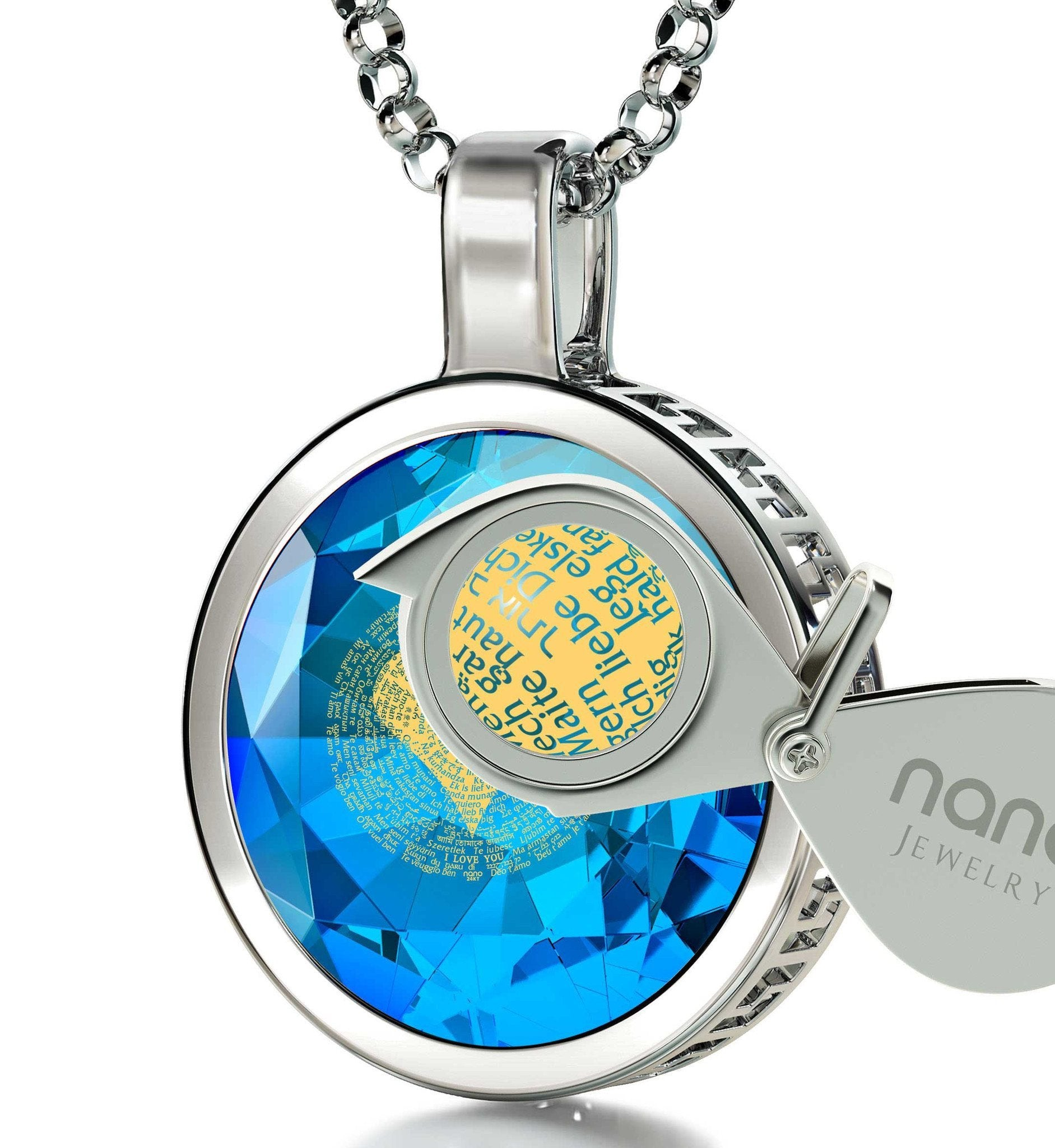 "Valentines Day Gifts for Women: ""I Love You"" in 120 Languages - Round - Nano Jewelry"