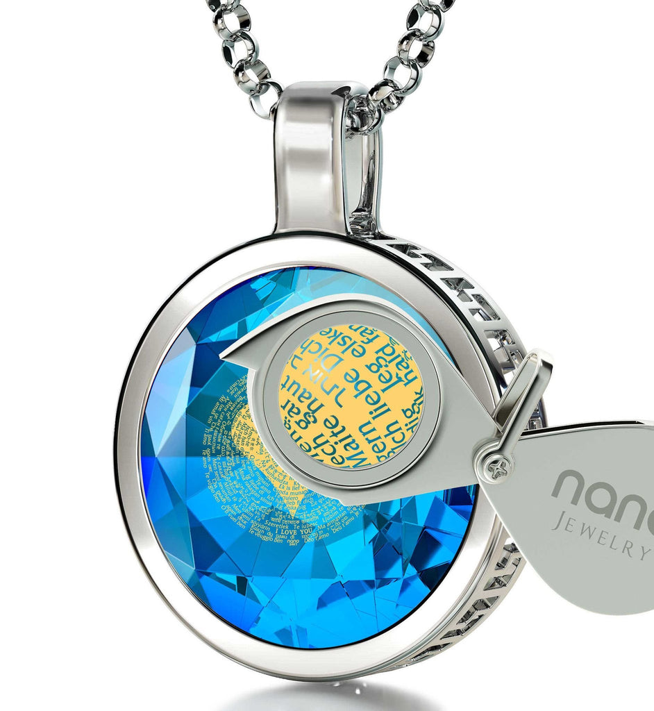 Good Christmas Gifts for Girlfriend, Engraved Necklaces, Blue Stone Jewellery, Birthday Present for Wife