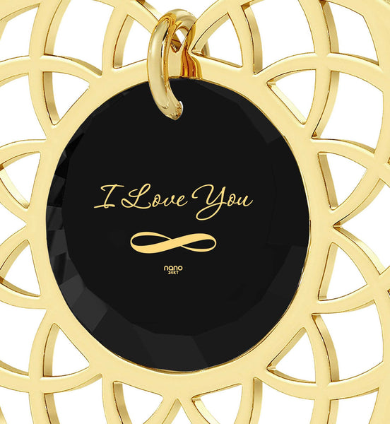 "Valentine's Day Gift Ideas for Girlfriend, ""I Love You Infinity"", 24k Imprint, Birthday Present for Wife, Nano Jewelry"