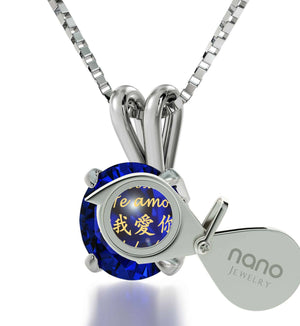 "Cute Valentines Day Gifts for Girlfriend, ""I Love You"" Engraved in 24k, CZ Blue Stone, Sterling Silver Pendants for Womens"