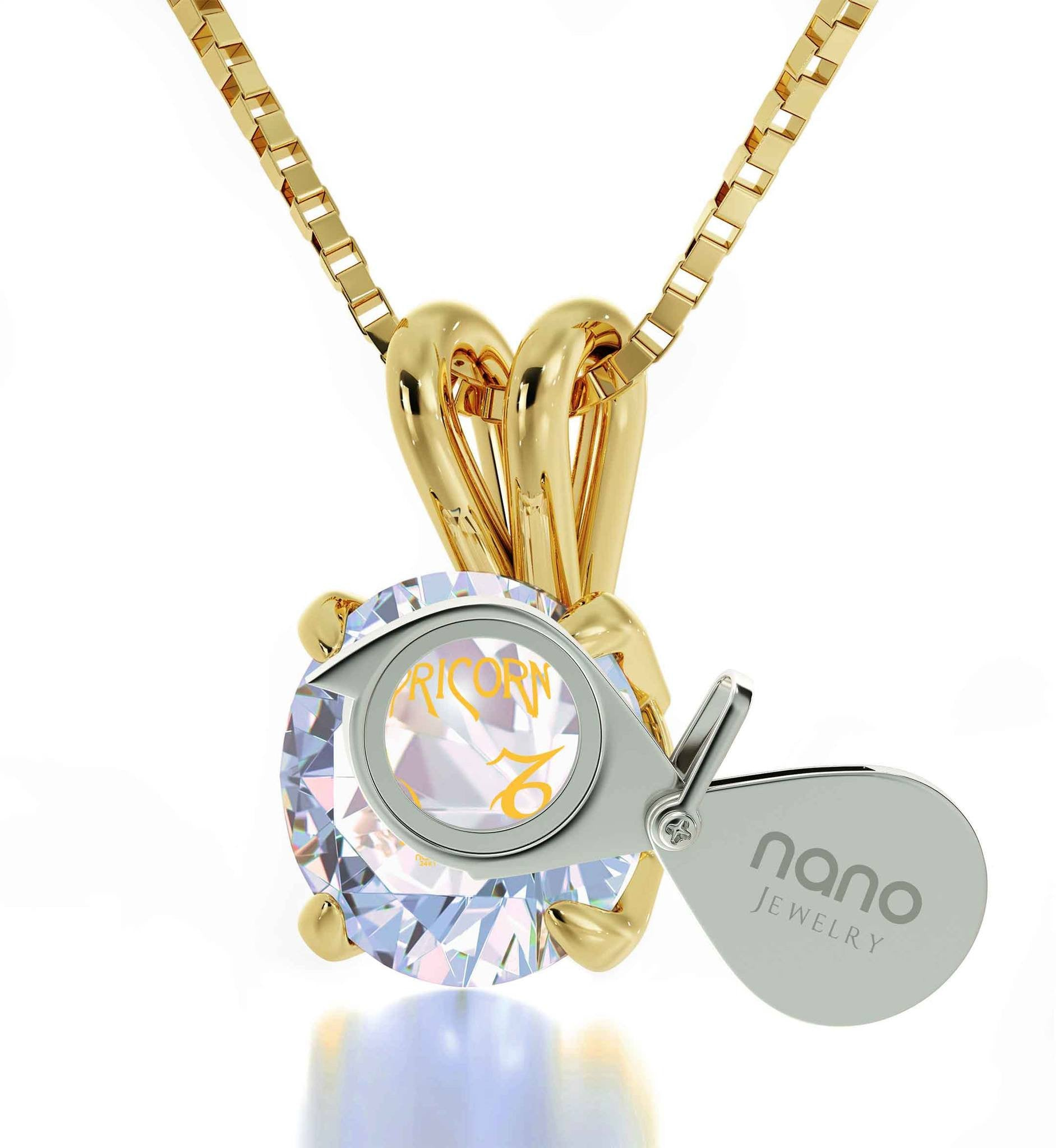 """Best Valentine Gift for Girlfriend, 14k Gold Necklace With Capricorn Crystal Pendant, Christmas Presents  for Teenagers, by Nano """