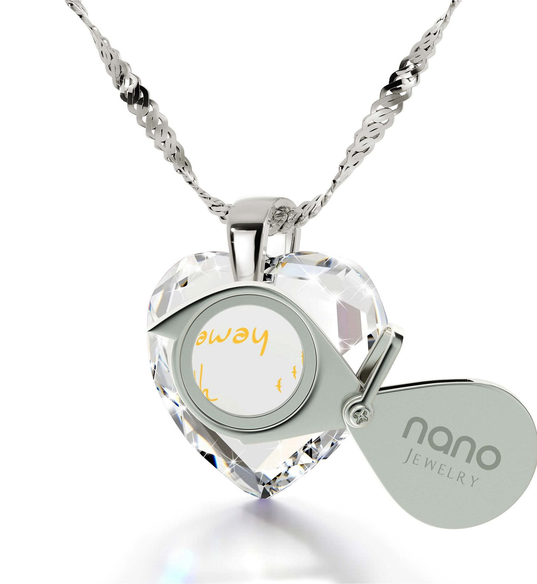 """What to Get Girlfriend for Birthday, 14k White Gold Chain with Engraved Pendant, Special Christmas Gifts for Her"""