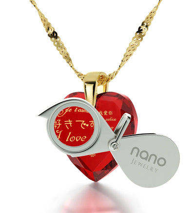 Best Valentine Gift for Girlfriend, Necklaces with Meaning, CZ Red Heart, Top Gifts for Wife by Nano Jewelry