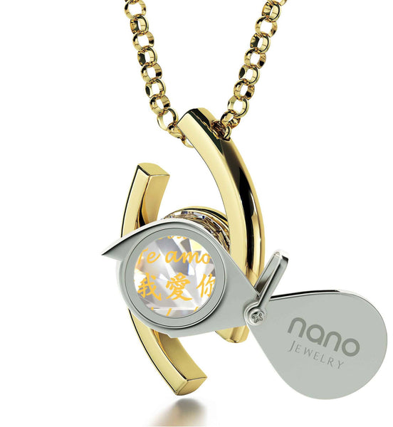 """Best Christmas Present for Girlfriend, ""Je T'aime"", Swarovski Necklace, Cute Valentines Day Gifts for Her by Nano Jewelry"""