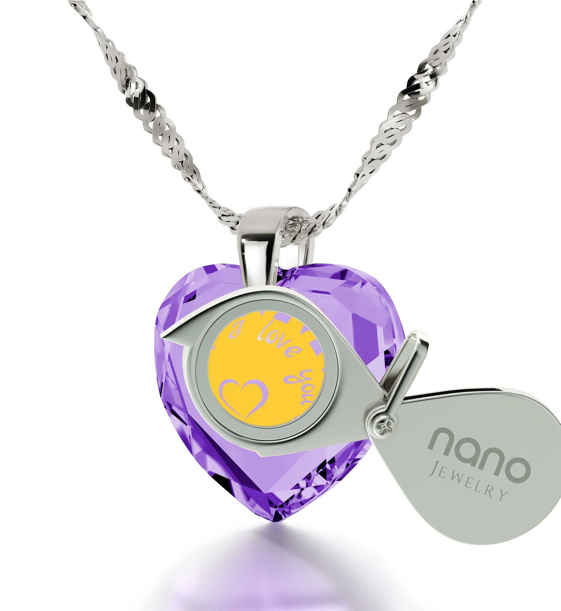 """Best Valentine Gift for Her, CZ Purple Heart, Cute Necklaces, What to Get Girlfriend for Birthday by Nano Jewelry"""