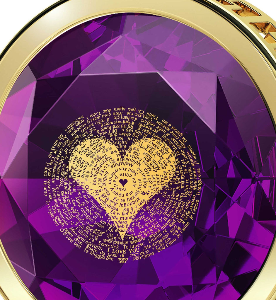 Best Valentine Gift for Her: Love in Different Languages, CZ Purple Stone, by Nano Jewelry