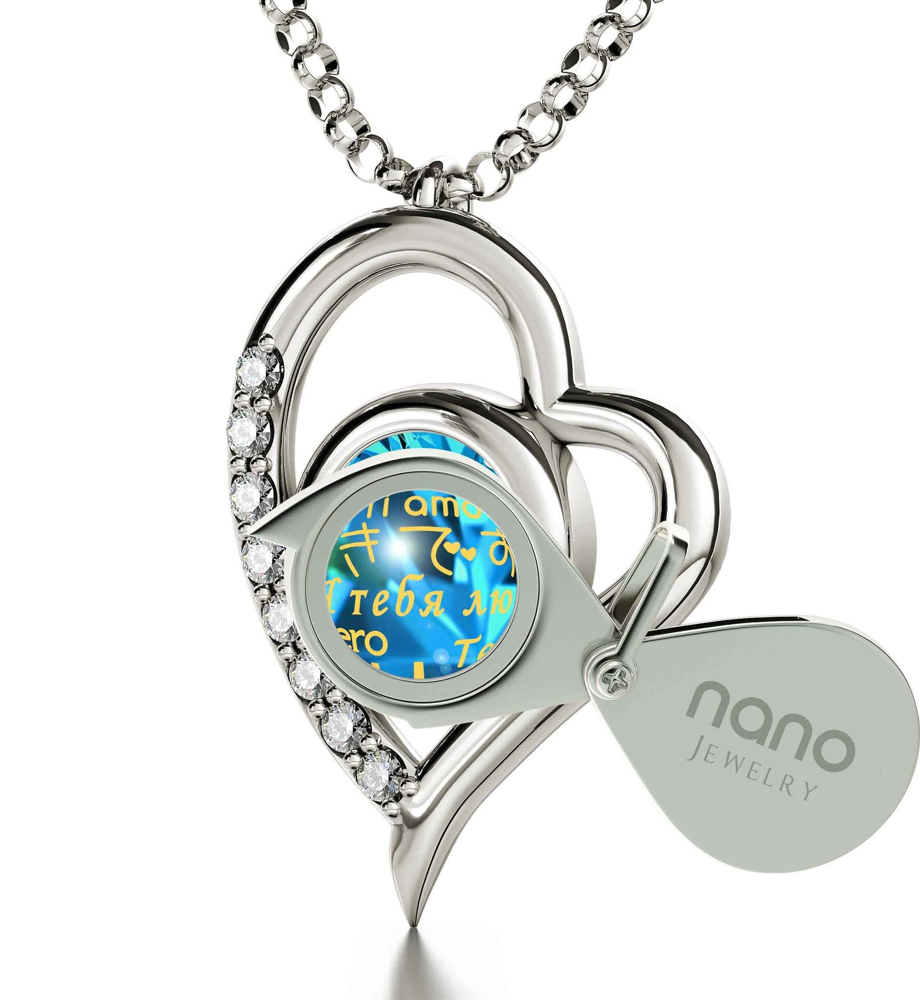 "Good Christmas Gifts for Girlfriend: ""Ti Amo"", Blue Stone Necklace, Wife Birthday Ideas by Nano Jewelry"