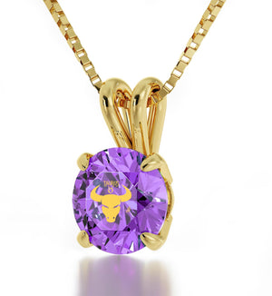 """BirthdayGift for TeenageGirl,RealGoldNecklace,PurpleStoneJewelry,ChristmasPresents for Wife"""