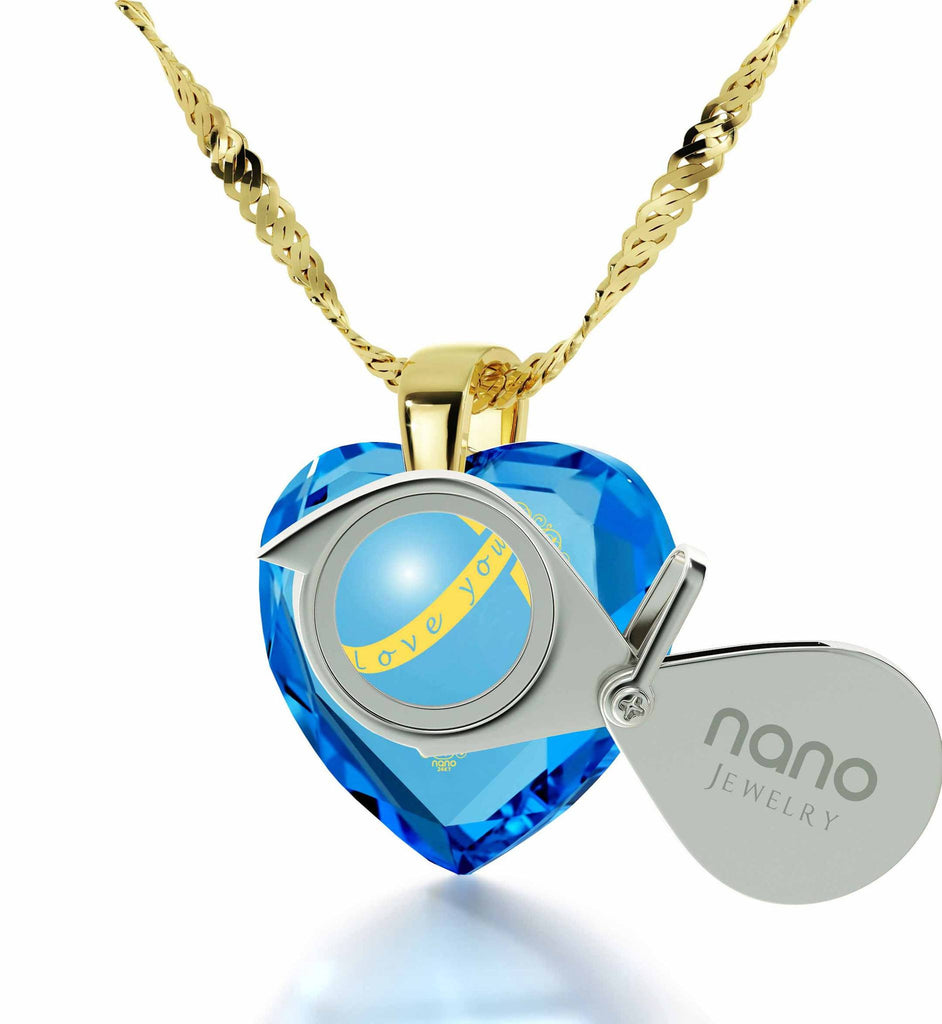 """Top Gifts for Wife, Blue Topaz Heart Stone Jewelry, Romantic Birthday Ideas for Her, by Nano"""