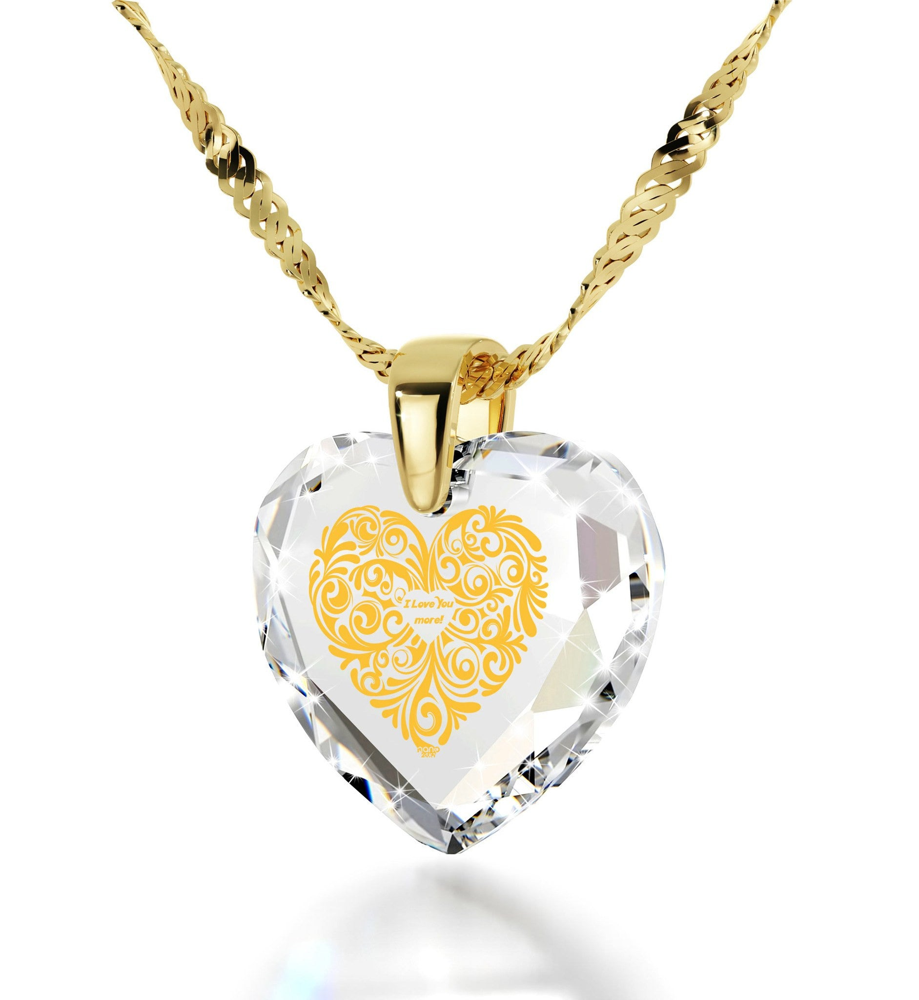 """Womens Christmas Ideas,""I Love You More""Necklace,Birthday Present for Girlfriend, Nano Jewelry"""