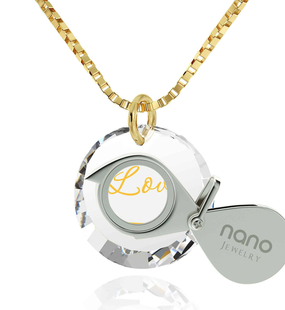 Best Valentine Gift for Wife, 14k Gold Jewelry, 24k Imprint, Girlfriend Necklace, Nano