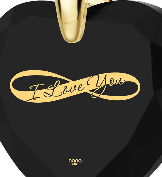 "Best Valentine Gift for Wife, 14k Gold Necklace,""I Love You Infinity"",Pure Romance Products, by Nano Jewelry"