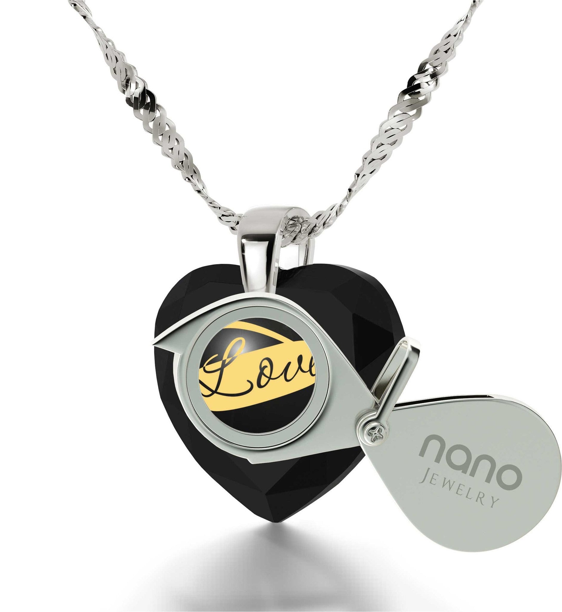 "Best Valentine Gift for Wife, ""I Love You Infinity"" Imprint, 14k White Gold Necklace, Pure Romance Products, by Nano Jewelry"