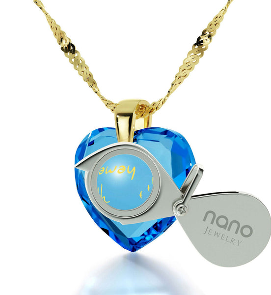 """Women's Gifts for Christmas, Fine Gold Jewelry with Blue Heart Stone, Birthday Ideas for Wife, by Nano"""