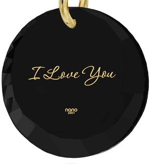 "Best Valentine Gift for Wife,""I Love You"" Imprinted Pendant, CZ Jewelry, Womens Birthday Presents, Nano"