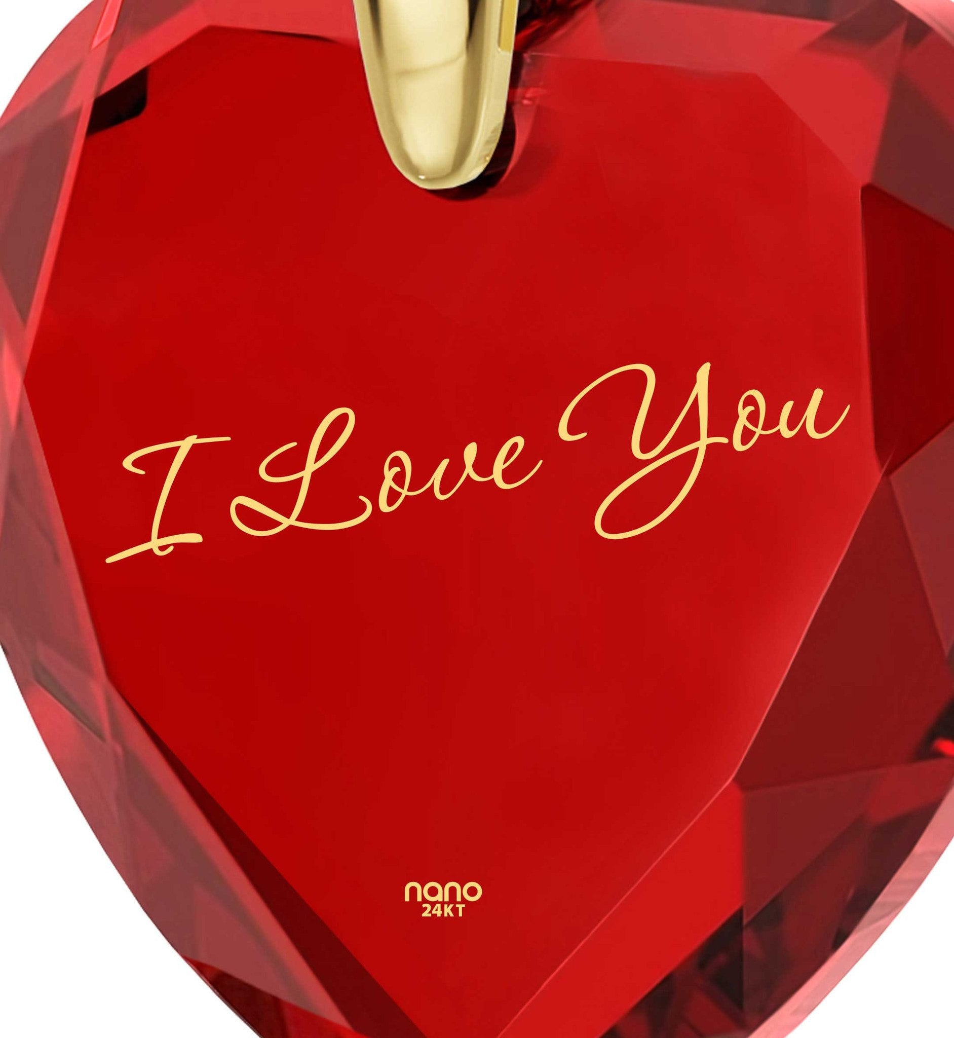 "Best Valentine Gift for Wife, ""I Love You"" Red Heart Pendant, Christmas Present Ideas for Girls, by Nano Jewelry"