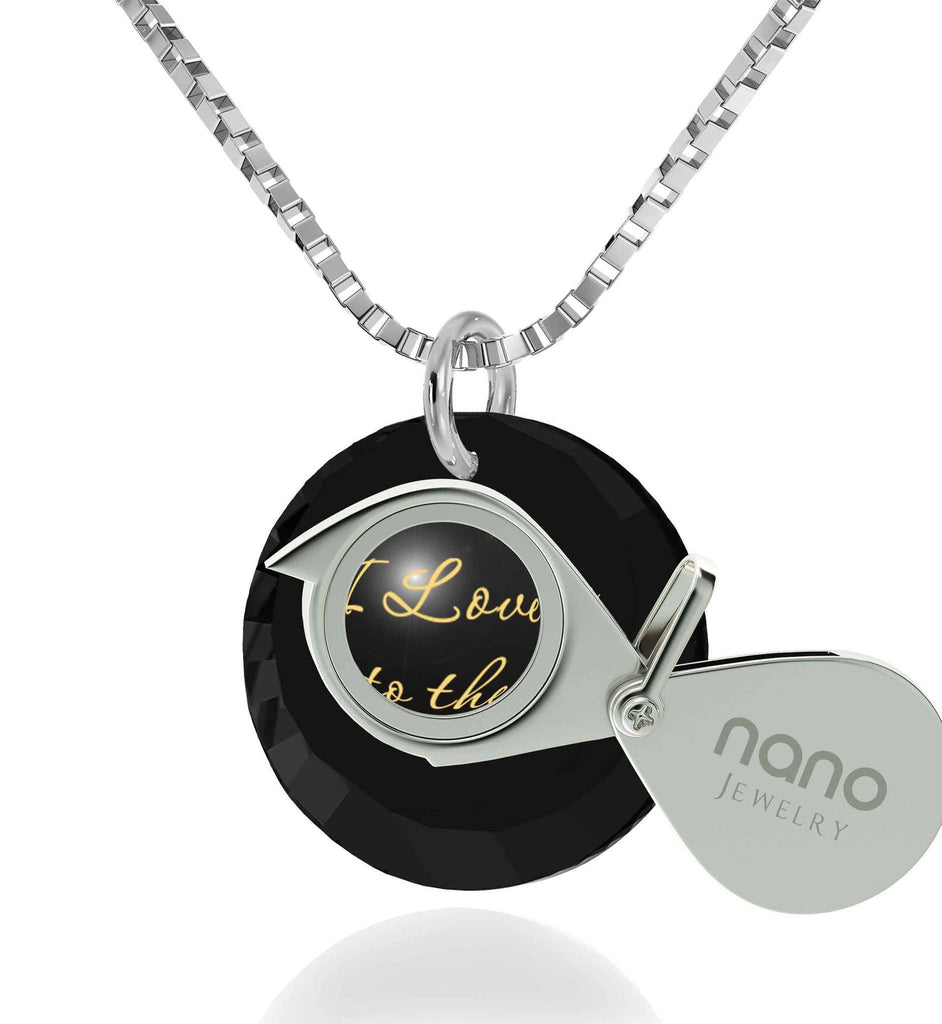 Top Gifts for Wife,14k White Gold Necklace, I Love You Necklace for Girlfriend, Nano Jewelry