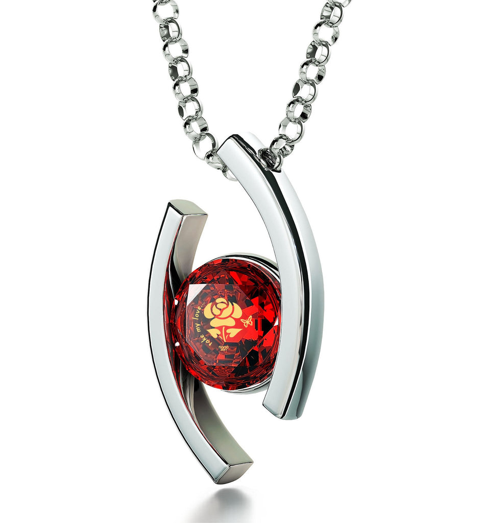 """What to Get Wife For Christmas, ""Take My Love..."" Engraved On Red CZ Pendant, Valentines Presents for Girlfriend"""