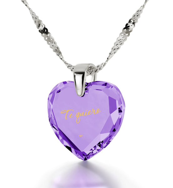 "Best Valentine Gift,""TeQuiero""- I Love You in Spanish, Purple CZ Jewellery, Necklace for Her"