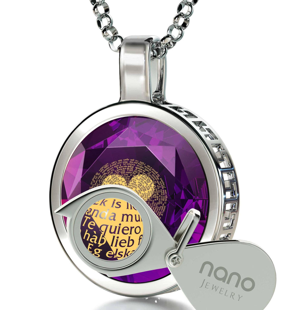 "Valentines Ideas for Her Creative: ""I Love You"" in 120 Languages - Round - Nano Jewelry"