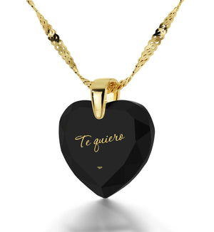 "Birthday Gift for Girlfriend, Black CZ Jewellery, Necklace for Women,""Te Quiero""- I Love You in Spanish"