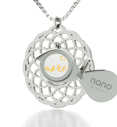 """Cute Necklaces for Her: Sterling Silver Necklace Chain, 24k Engraved, Valentine Gift for Wife, Nano Jewelry"""