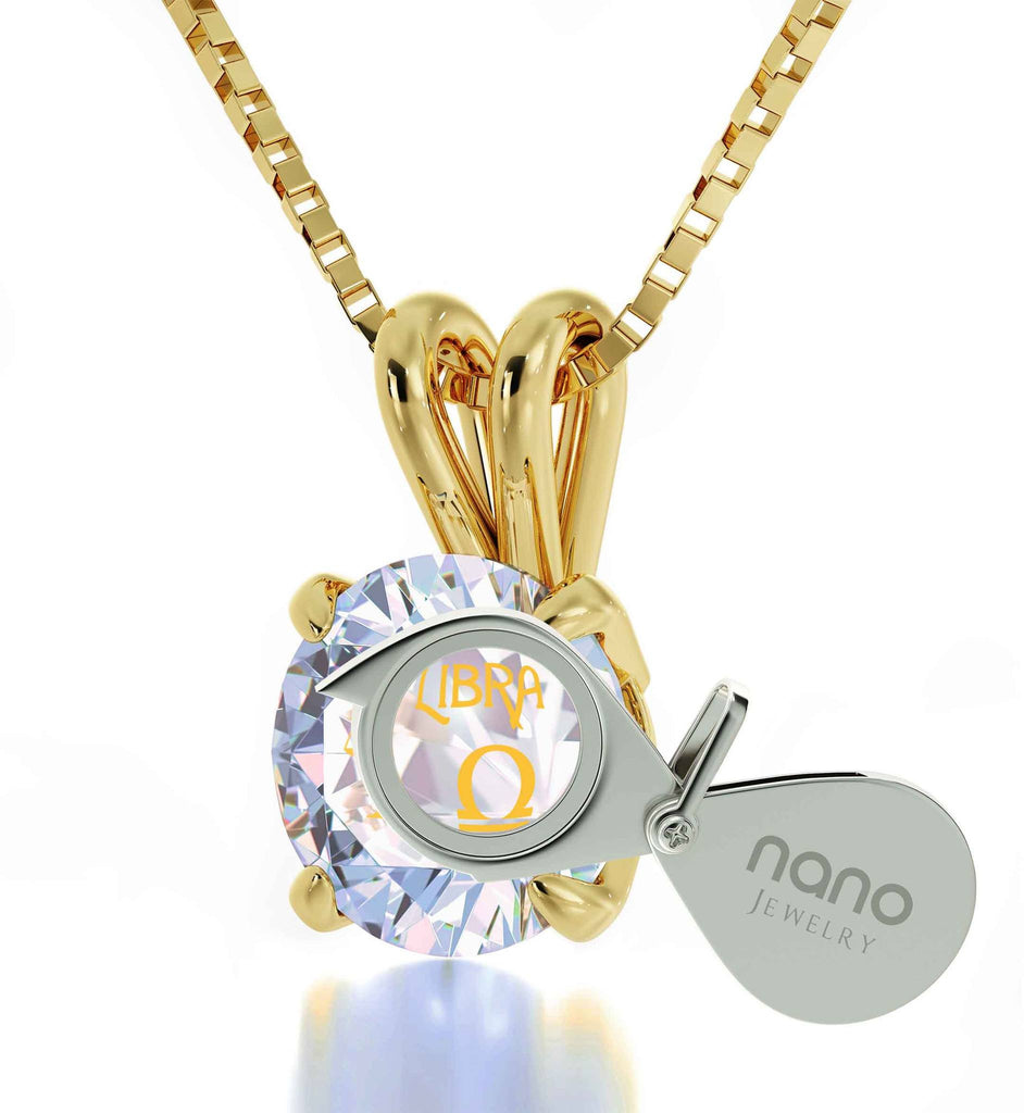 """Good Gifts for Girlfriend, Libra Sign Engraved on White Stone Jewelry, Special Gifts for Sisters, by Nano """