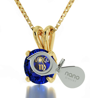 """Cute Necklaces for Her, Fine Gold Chain With Virgo Sign Engraved on Blue Stone Jewellery, Gift Ideas for Young Women """