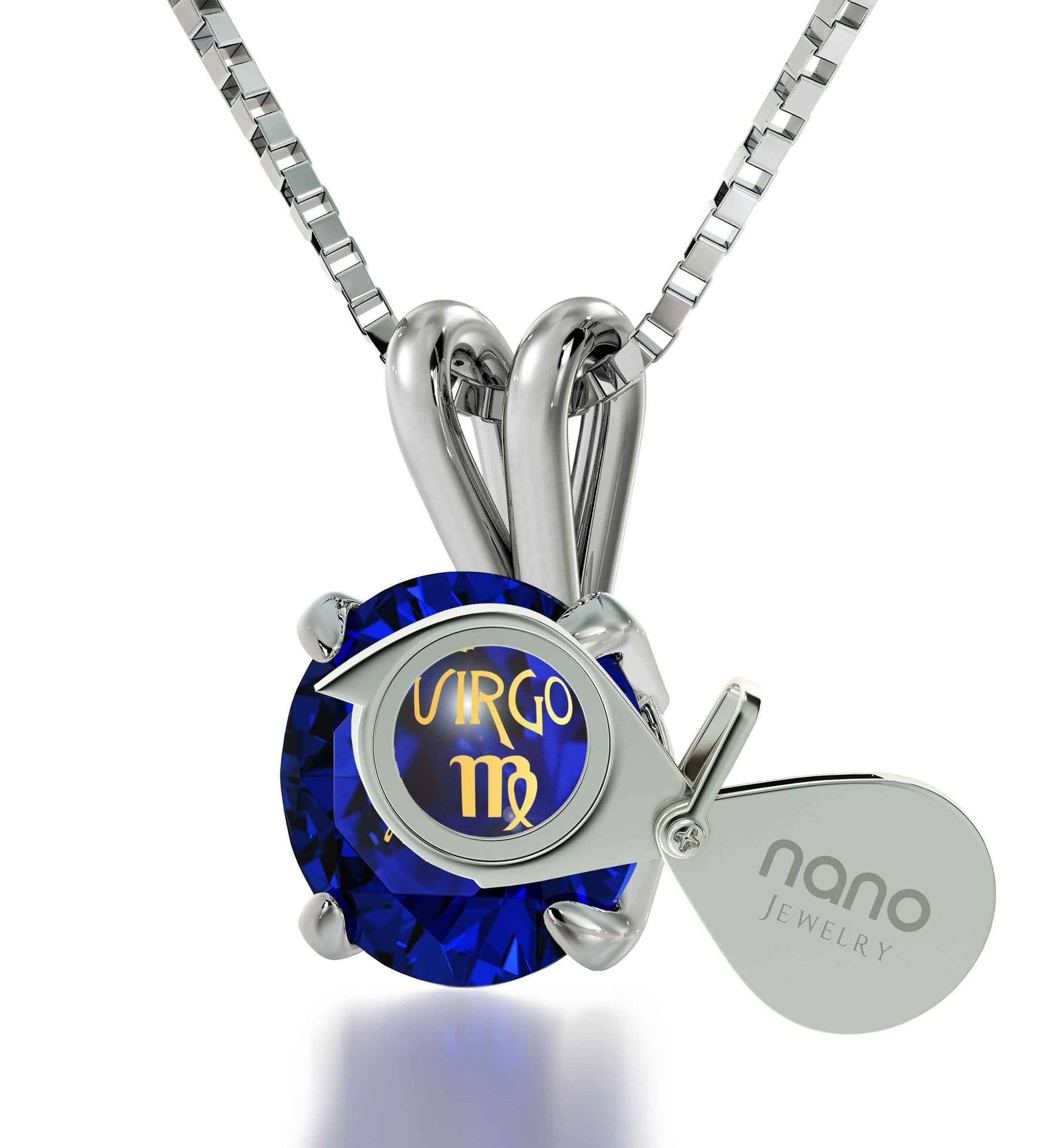 Birthday Gift For Teenage Girl Virgo Sign Engraved On Blue Stone Jewellery Best