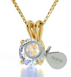 """Christmas Present Ideas for Girls, Virgo Sign Engraved on White Stone Jewellery, Cool Teen Gifts, by Nano """