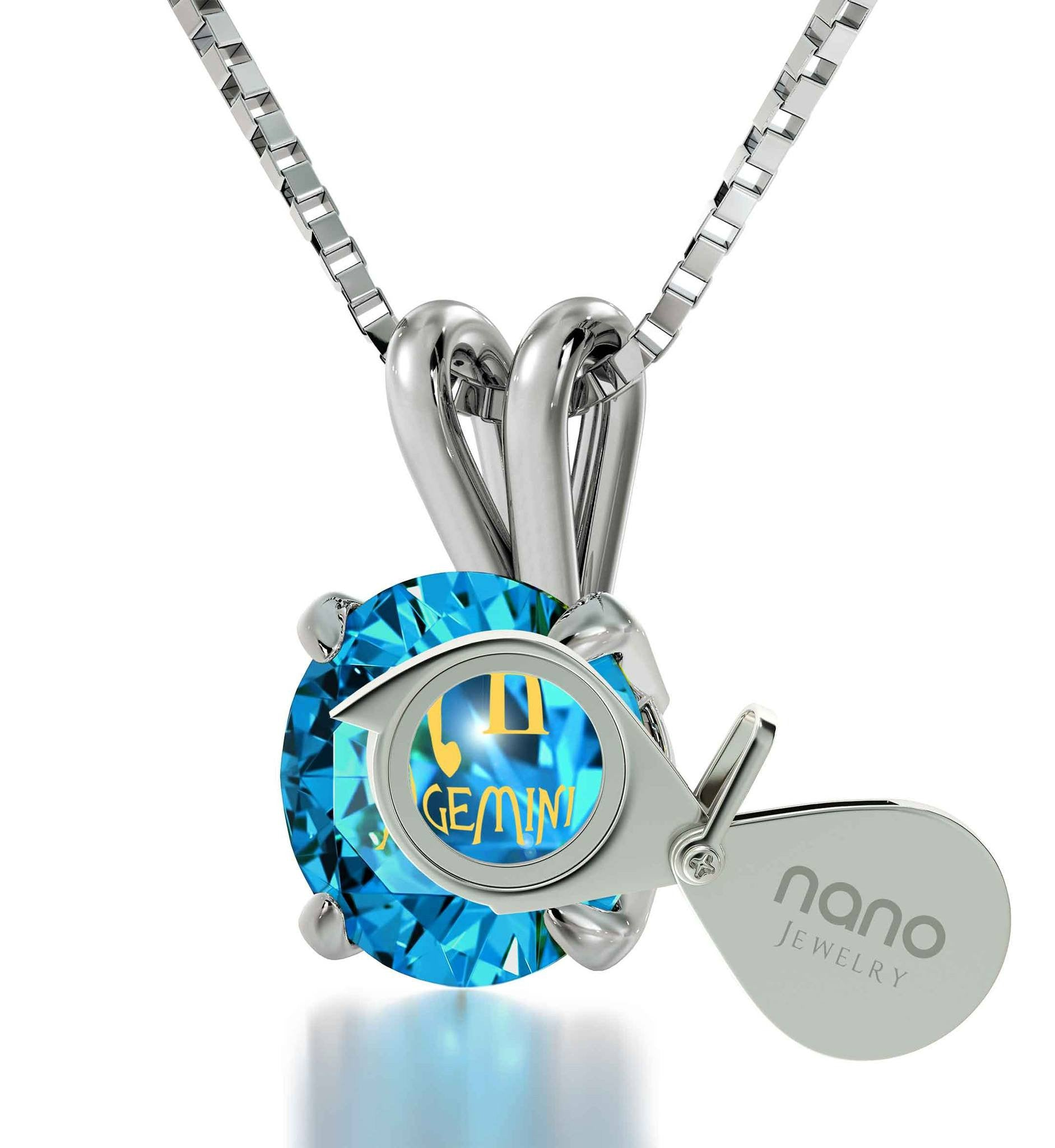 """BirthdayPresent for BestFriend, GeminiNecklace, CZ BlueStone, BestXmasGift for Wife by NanoJewelry"""