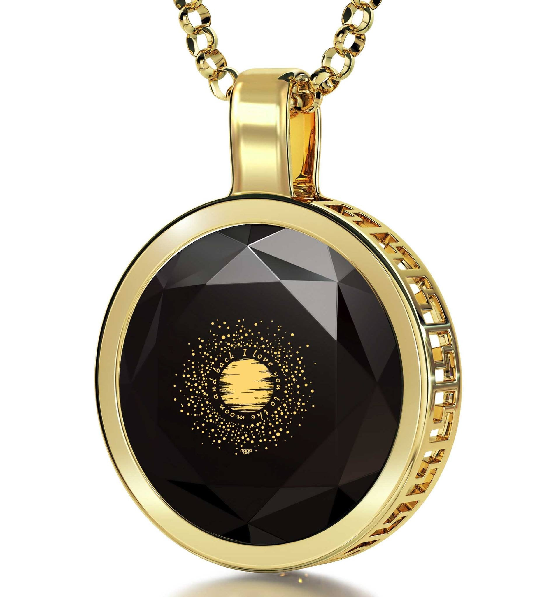 """Necklaces for Your Girlfriend, CZJewellery, 24k Engraved Pendant,Top Gifts for Women, Nano """