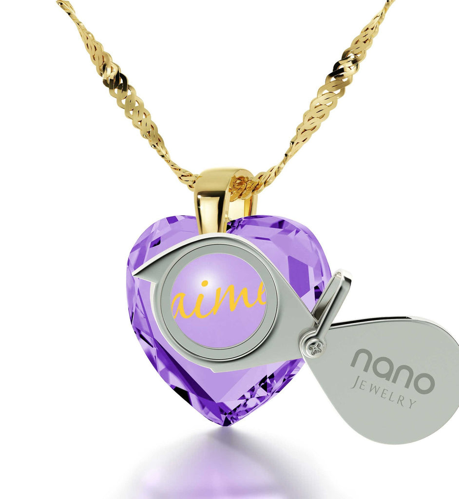 "What to Get Girlfriend for Birthday:""I Love You"" in French,Womens Presents, Nano Jewelry"