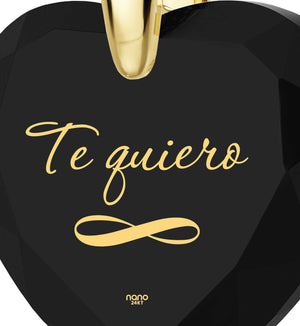 """Birthday Present for Girlfriend, ""TeQuiero""""I Love You"" in Spanish, Heart Necklace"""