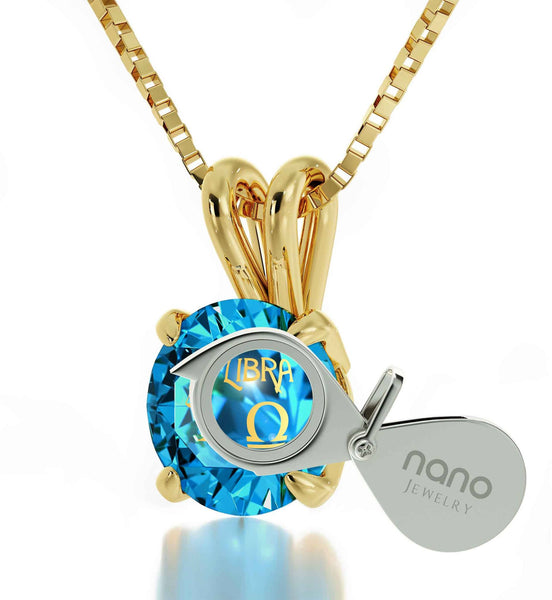 """Good Gifts for Girlfriend, Libra Characteristics Engraved on Blue Stone Jewelry, Cool Gifts for Teens """
