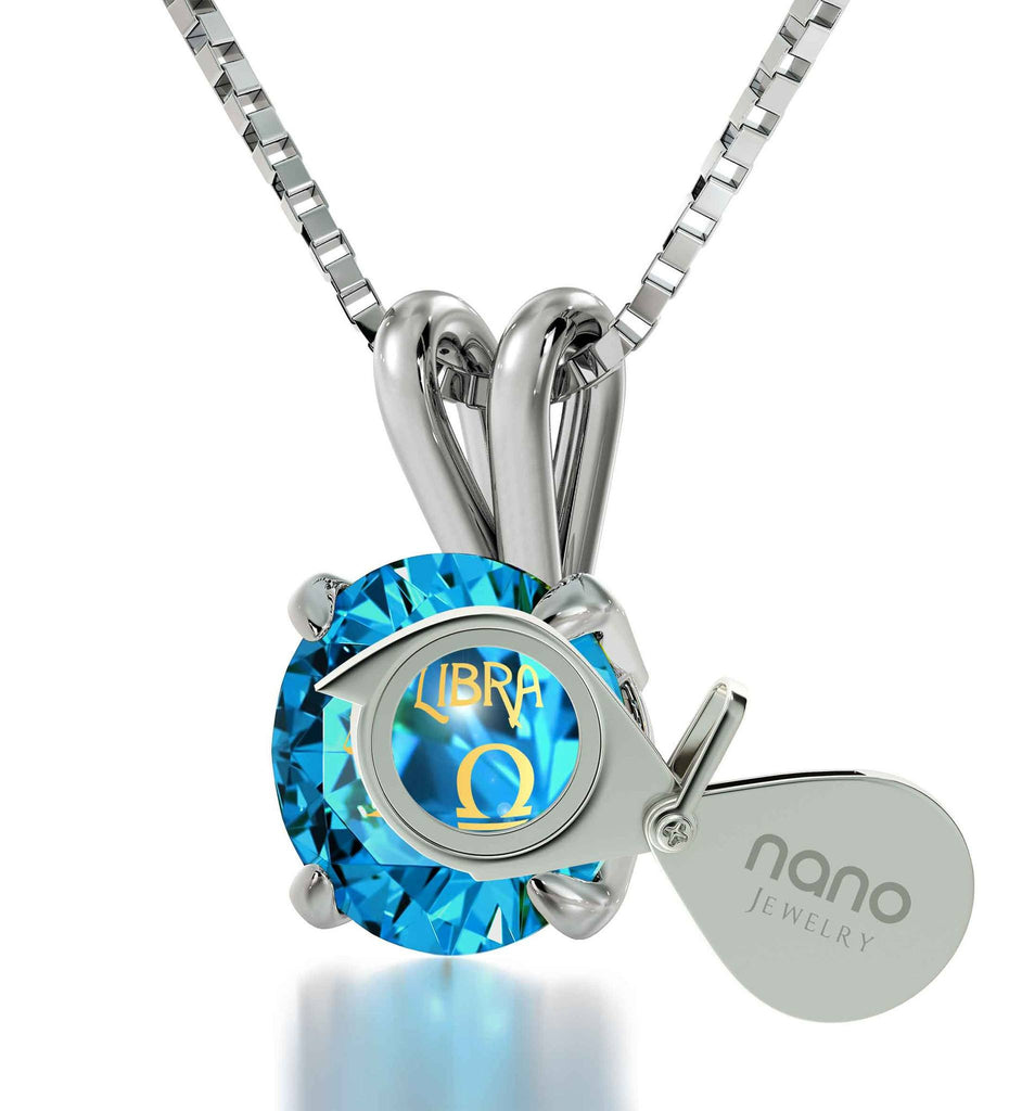 """Birthday Present for Sister, Libra Characteristics Engraved on Blue Stone Jewelry, Cool Teen Gifts """