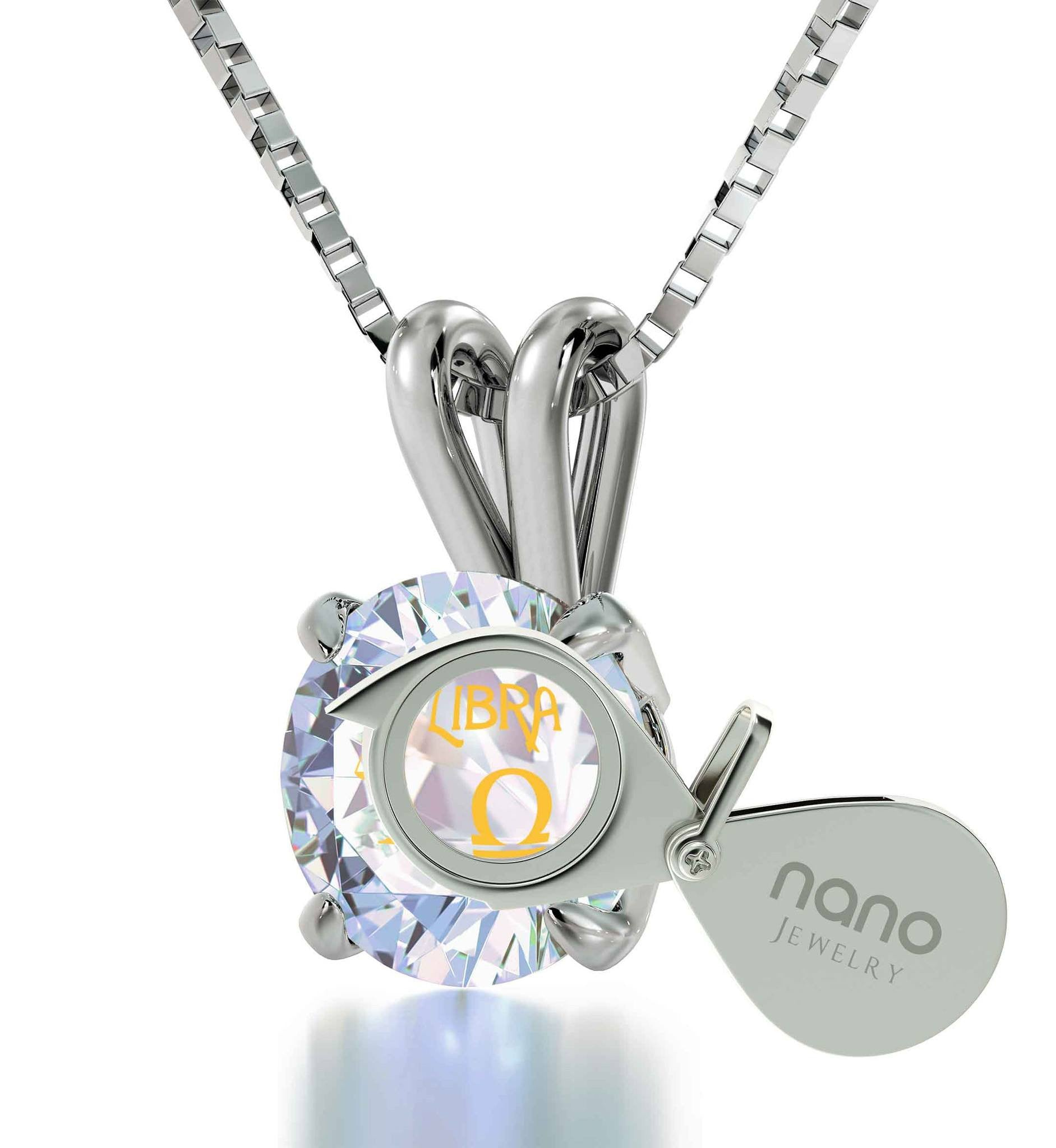 """Valentines Day Presents for Her, 14k White Gold Necklace With Libra Pendant, Gifts for Someone Who Has Everything """