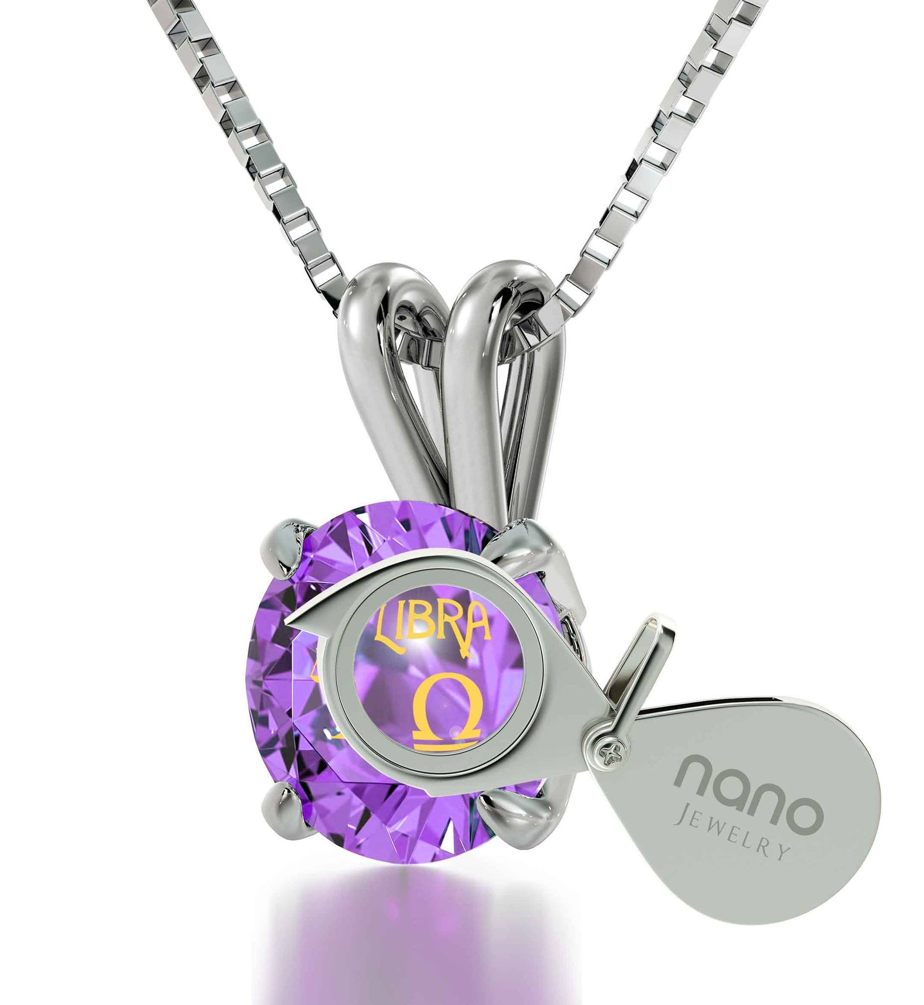"""Birthday Present for Sister, Libra Characteristics Engraved on Purple Stone, Jewellery, Cool Gifts for Girls """